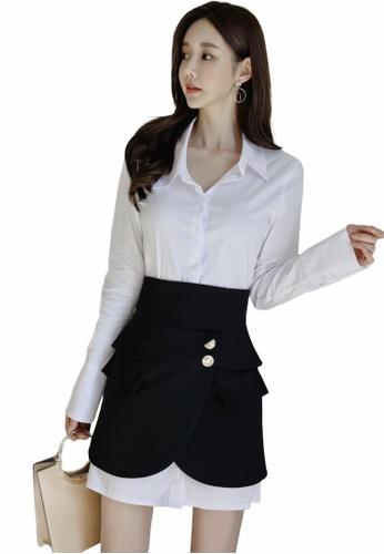 Crystal Korea Fashion white Korean-made detachable shirt + skirt two-piece suit EDA31AA876C522GS_1