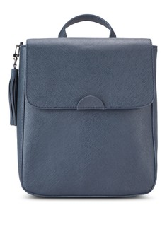 【ZALORA】 Saffiano Flap Backpack