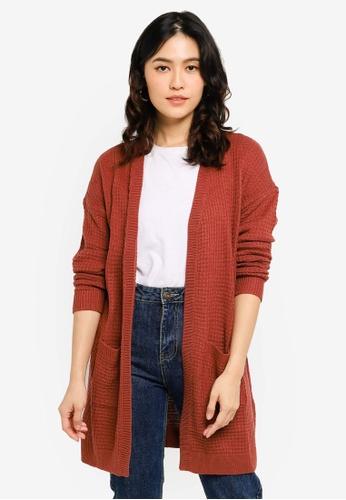 JACQUELINE DE YONG red Alice Knit Cardigan 3EBDFAAF1FD12EGS_1