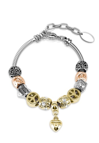 Her Jewellery silver and gold Hubris Charm Bracelet - Made with premium grade crystals from Austria F4864AC686D479GS_1