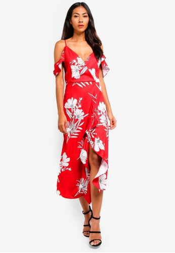 BYSI red Botanical Print Ruched Dress 1B723AA8358CBCGS_1