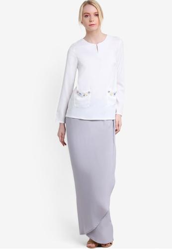 Lubna grey and white Beaded Pocket Kurung LU723AA10ZYVMY_1