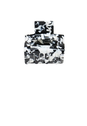 Glamorousky silver Simple and Fashion Black and White Marble Texture Geometric Small Hair Claw A55C5ACB9DF1B6GS_1