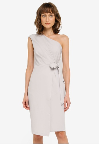 CLOSET grey One Shoulder Drape Wrap Dress CL919AA0SNXDMY_1