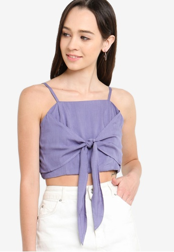 Something Borrowed purple Crop Top With Bow Detail 394B8AA0AEA4ACGS_1