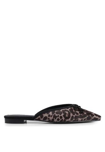 Mango 黑色 豹紋穆勒鞋 E288ESHEC3FDD7GS_1