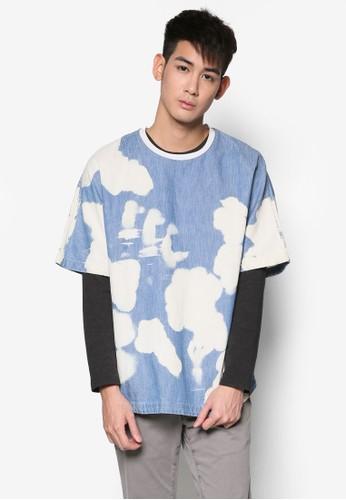 褪色水洗丹寧Tesprit 衣服 恤, 服飾, T恤