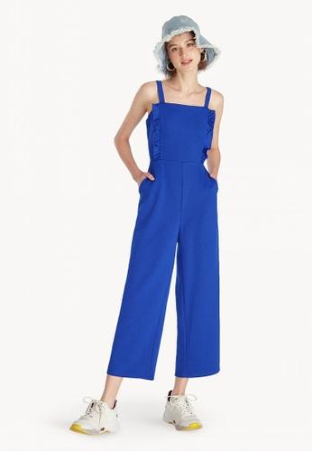 fb10917f376c Shop Pomelo Square Neck Strap Jumpsuit - Blue Online on ZALORA Philippines
