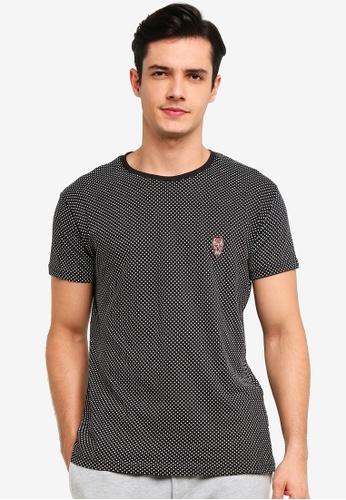 !Solid 黑色 Shimon Skull 刺繡T-襯衫 AA954AA57A72D6GS_1
