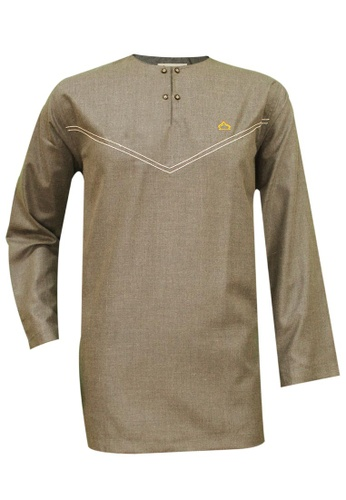 SULTAN brown SULTAN KURTA - CASHMERE - ROUND NECK FULL SLEEVES 57BC2AA4DFF2A9GS_1