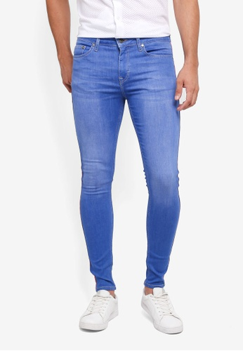 Topman blue Blue Wash Spray On With Side Taping Jeans 44E9DAA2CD0087GS_1