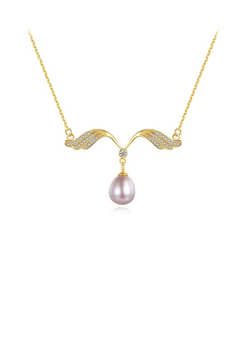 Glamorousky white 925 Sterling Silver Plated Gold Simple Fashion Angel Wings Purple Freshwater Pearl Necklace with Cubic Zirconia 904DCAC5001725GS_1