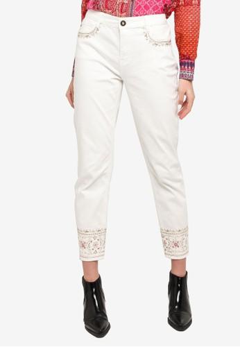 Desigual beige Hindu Motifs Cropped Jeans B477FAAFC556C7GS_1