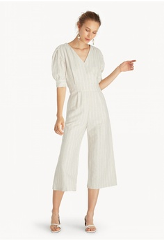 10ff4b4592b Pomelo beige Purpose Striped Surplice Jumpsuit - Beige FA581AAB88135EGS 1