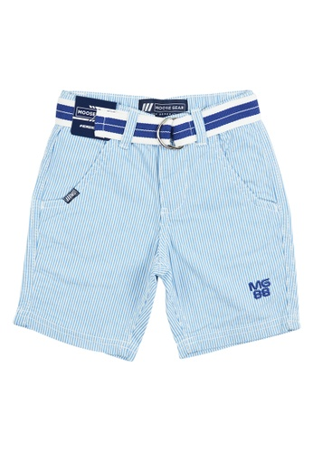Moose Gear white and blue Stripes Short Pants Twill With Belt For Boys 8957BKAC79D325GS_1