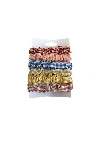 Glamorbit multi Checkered Hair Scrunchies Set 8D043AC6C084CAGS_1