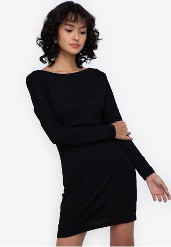 ZALORA BASICS black Long Sleeve Mini Dress 5D915AAF4E7C23GS_1