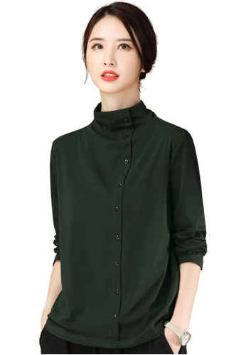 A-IN GIRLS green Casual Half High Collar Solid Color T-Shirt 128D2AA0936592GS_1