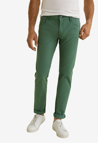Mango Man 綠色 Slim-Fit 5 Pocket Cotton Trousers 18724AAF504FBFGS_1