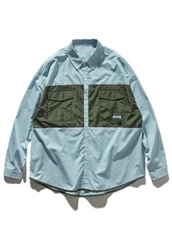 Twenty Eight Shoes Contrast Panel Pocket Stripe Shirt 92127W 0478EAA389FE7AGS_1