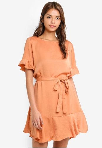 Cotton On brown Woven Satin Crew Tea Dress 66BF4AA0C6CF80GS_1