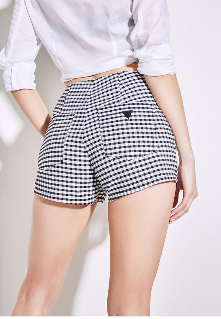 white black multi High Guess Gingham Shorts Rise OqvXvf
