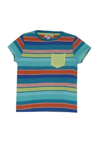 DU PAREIL AU MÊME (DPAM) blue Striped T-Shirt With Yellow Patch Pocket 50F27KA378C0BFGS_1