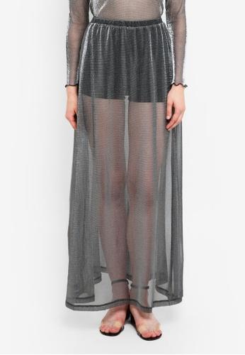 Something Borrowed black 2 in 1 Glitter Knit Skirt 8CA3AAAB48DBB9GS_1