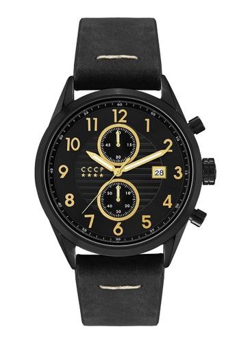 CCCP black CCCP Men's Black Genuine Leather Strap Watch - CP-7029-03 C7050ACE8CBAAFGS_1