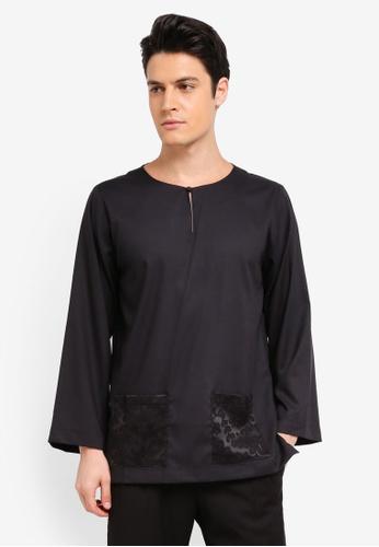 Zalia Homme 黑色 Contrast Pocket Top C55FBAA40C8CFDGS_1