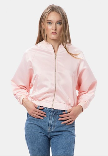 MKY Clothing pink Plain Sateen Bomber Jacket EC333AAD3DD2C2GS_1