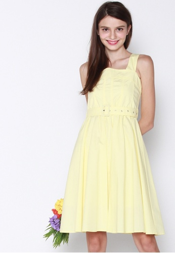 JOVET yellow Wide Strap Dress With Buckle Belt 13AEBAA51515FAGS_1