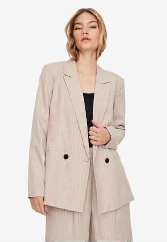 Vero Moda beige Miriamlaja Long Sleeve Blazer 96AB2AAF862800GS_1