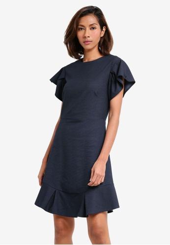 CLOSET navy Frill Sleeve & Hem Dress 5B5ECAA7FAA181GS_1