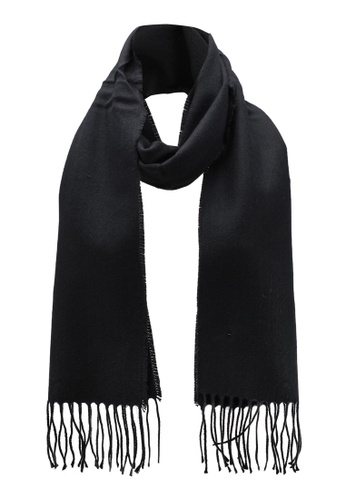 Burton Menswear London black Woven Plain Scarf BU964AC0RWM1MY_1