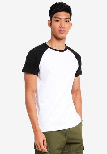 Burton Menswear London 黑色 Black And White Raglan T-Shirt F9402AA8293E64GS_1