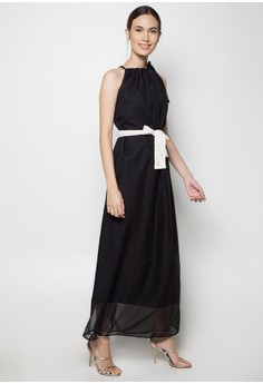 Drawstring Chiffon Gown Dress