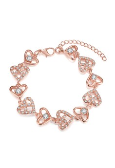 Treasure by B&D B007-B Plated Hollow Heart Chain Zircon Bracelet