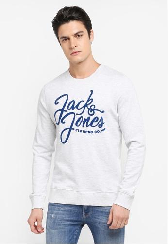 Jack & Jones white Script Crew Neck Sweatshirt 8756FAAFFA5C9CGS_1