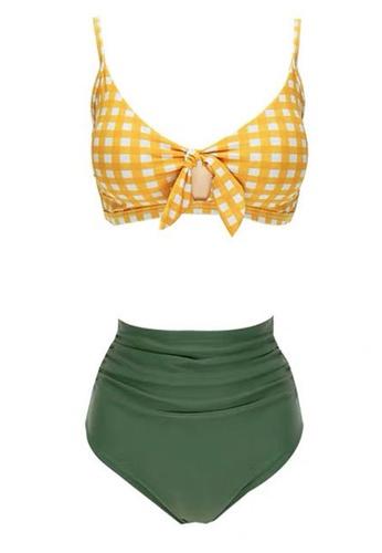 Halo yellow and green (2pcs) Bikini Swimsuit 90B98USB654926GS_1