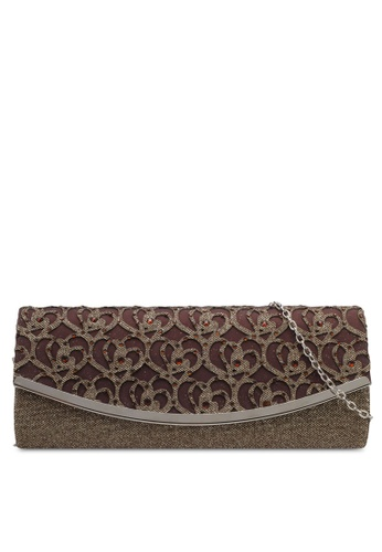 Unisa brown Glittering Stones Embellishment Perforated Facile Dinner Clutch UN821AC0SRUCMY_1