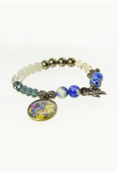 WLB013 Women's Bracelet with Indigo Flower and Butterfly Charm