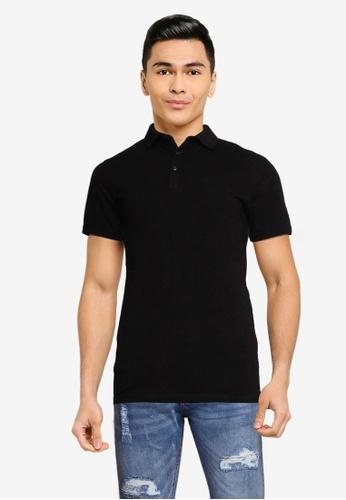 Brave Soul black Short Sleeve Polo Shirt C264AAA90A57B8GS_1