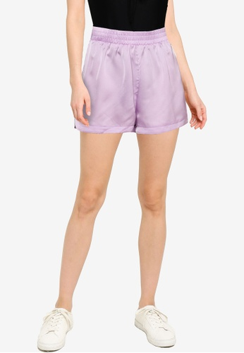 Public Desire purple Satin Beach Shorts Co-ord 341D2AA6CA40AFGS_1