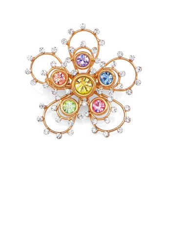 Glamorousky multi Gleaming Flower Brooch with Multi-colour Austrian Element Crystals A3A08ACF1F9338GS_1