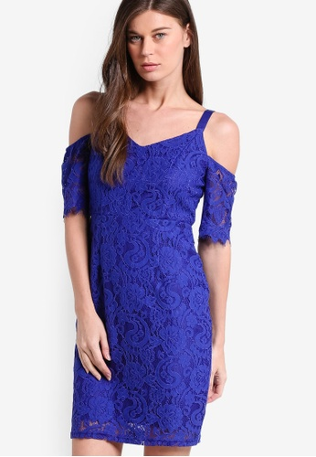 Dorothy Perkins blue Petite Cobalt Blue Lace Cold Shoulder Pencil Dress DO816AA32RCDMY_1