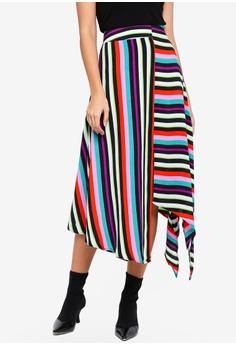 afa40822fa TOPSHOP multi Striped Hanky Hem Midi Skirt 0E04CAA73B775EGS 1