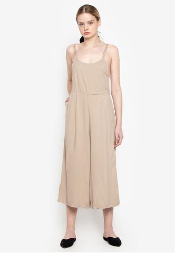 Susto The Label beige Gayle Crisscross Jumpsuit 17342AA92500A5GS_1