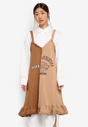 Stylenanda brown Half And Half Spliced Dress 1247EAA271A8DFGS_1