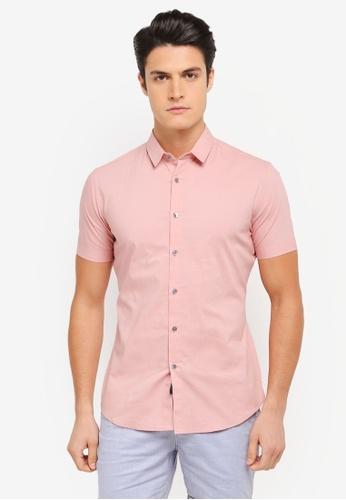 ZALORA pink Casual Collar Textured Short Sleeve Shirt 770B9AA71B69D2GS_1
